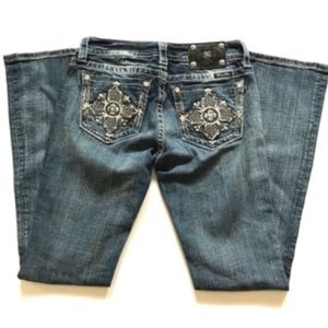 Miss Me Boot Cut Jeans 28 Bling Distressed MidRise